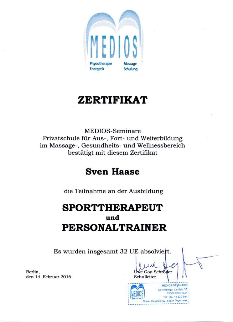 Sporttherapeut und Personaltrainer